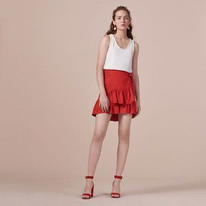 Maje mini red skirt with ruffles Size 0 (FR 34)